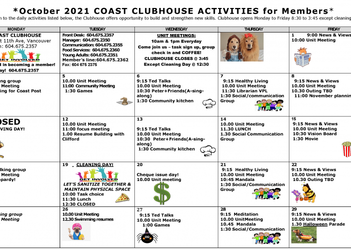 Clubhouse Activities Calendar October 2021